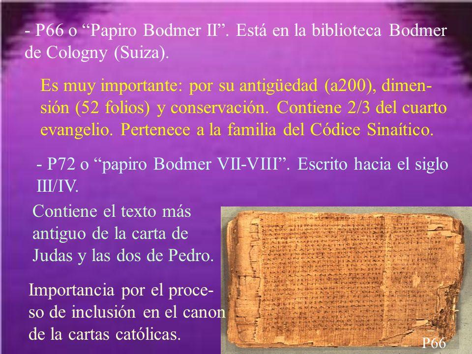 - P66 o Papiro Bodmer II. Está en la biblioteca Bodmer de Cologny (Suiza). P66 Es muy importante: por su antigüedad (a200), dimen- sión (52 folios) y