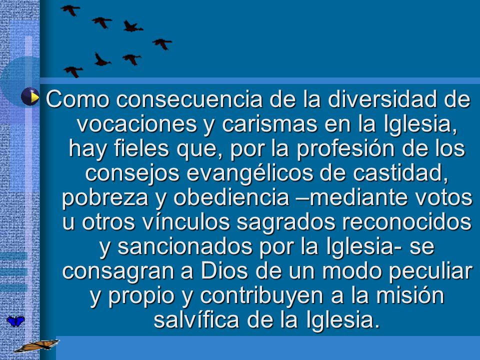 Como consecuencia de la diversidad de vocaciones y carismas en la Iglesia, hay fieles que, por la profesión de los consejos evangélicos de castidad, p