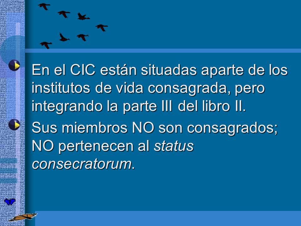 En el CIC están situadas aparte de los institutos de vida consagrada, pero integrando la parte III del libro II. En el CIC están situadas aparte de lo