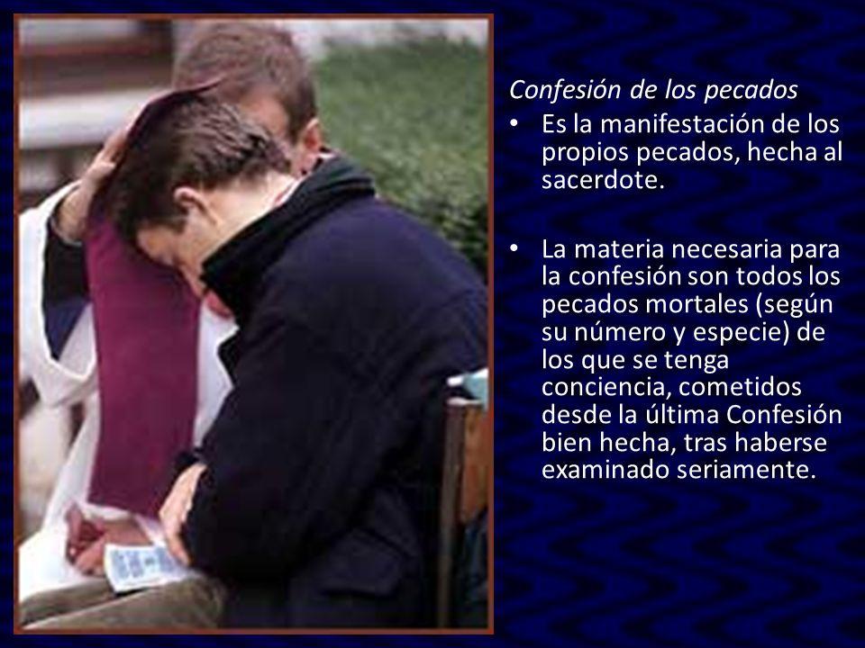 Confesión de los pecados Es la manifestación de los propios pecados, hecha al sacerdote. La materia necesaria para la confesión son todos los pecados
