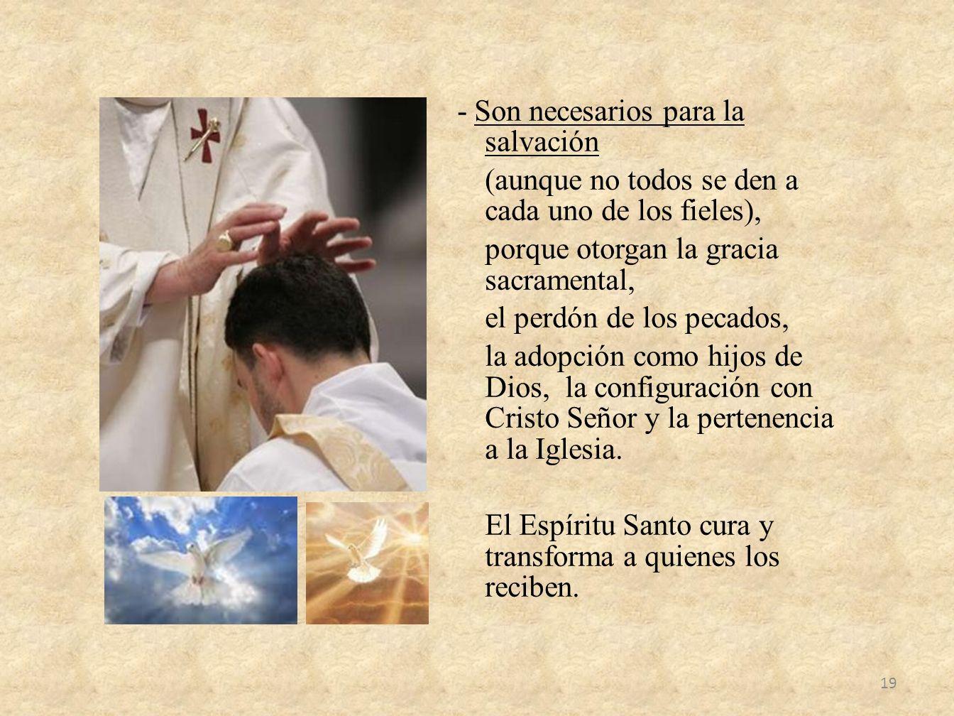 - Son necesarios para la salvación (aunque no todos se den a cada uno de los fieles), porque otorgan la gracia sacramental, el perdón de los pecados,