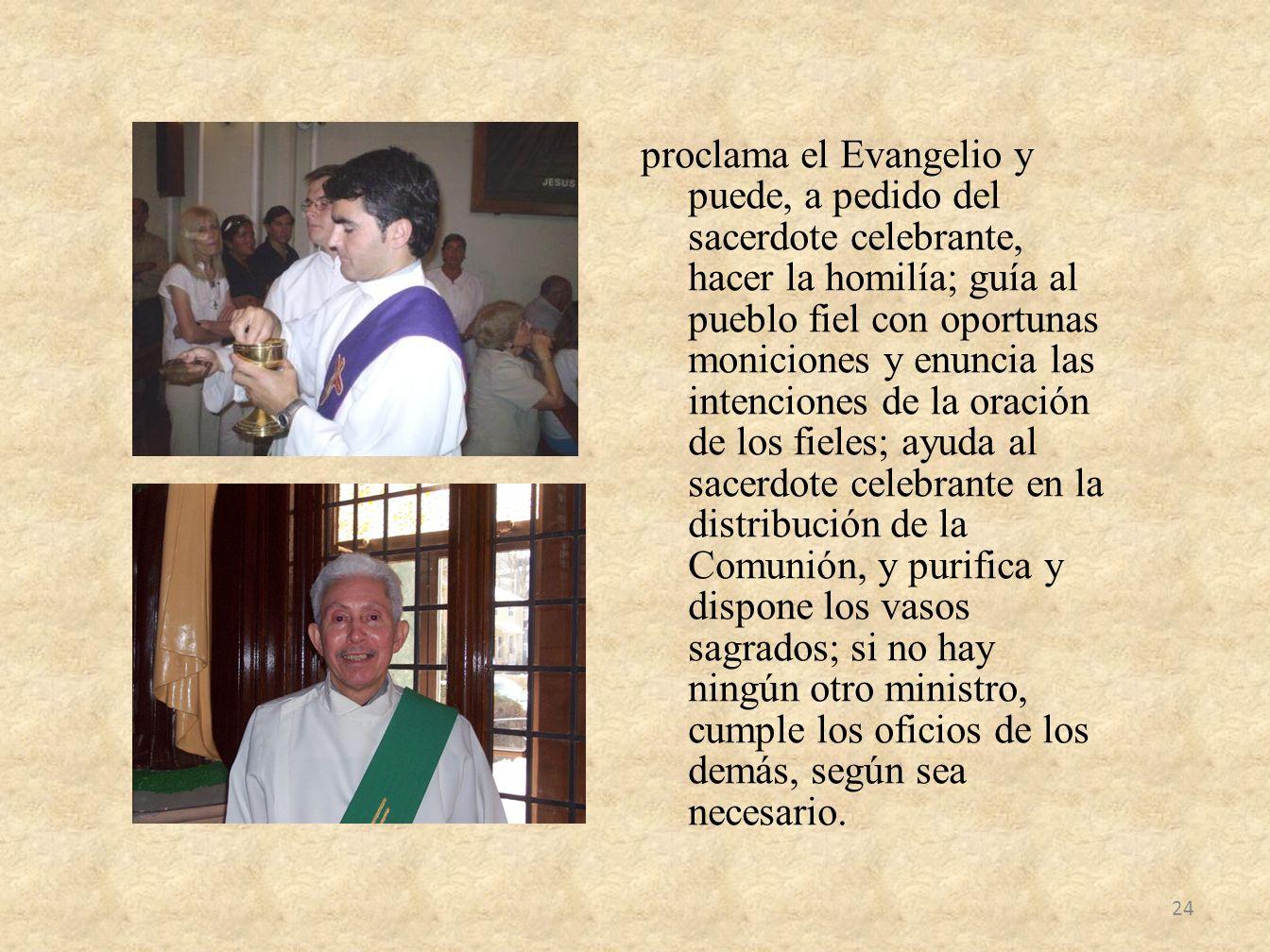 proclama el Evangelio y puede, a pedido del sacerdote celebrante, hacer la homilía; guía al pueblo fiel con oportunas moniciones y enuncia las intenci