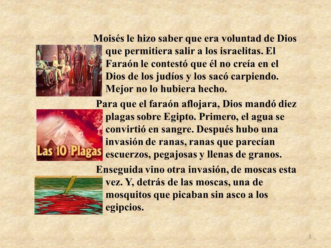 3 Moisés le hizo saber que era voluntad de Dios que permitiera salir a los israelitas. El Faraón le contestó que él no creía en el Dios de los judíos