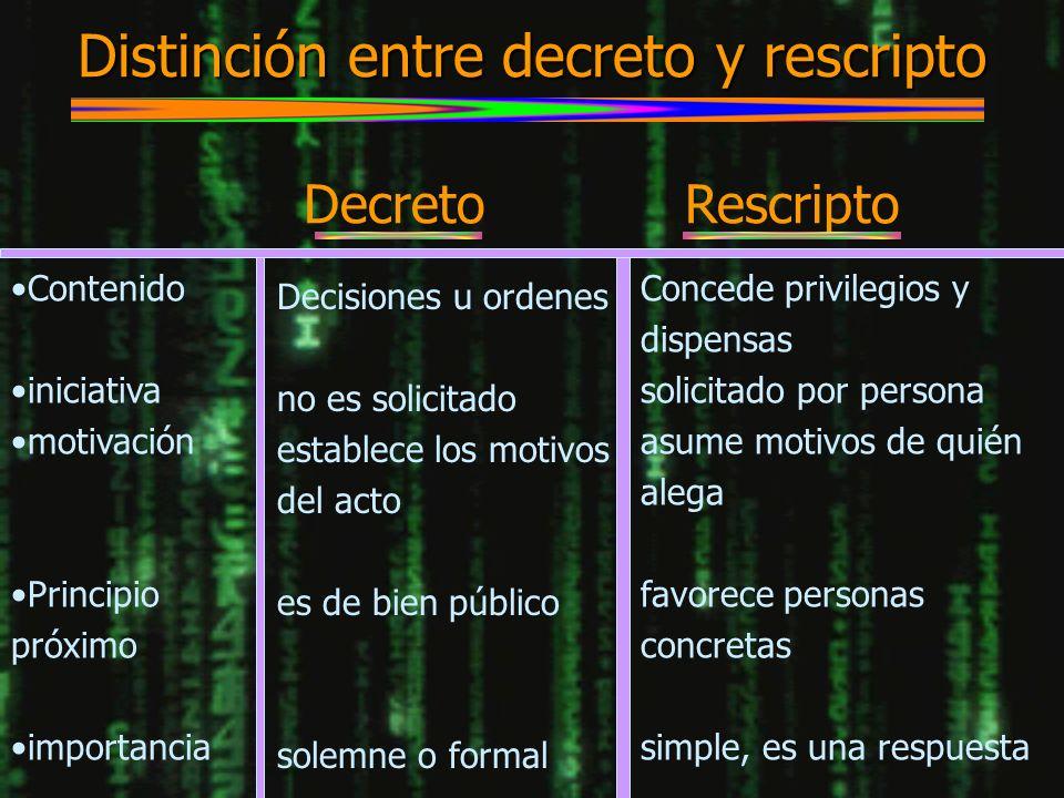 Distinción entre decreto y rescripto Contenido iniciativa motivación Principio próximo importancia Decreto Rescripto Decisiones u ordenes no es solici