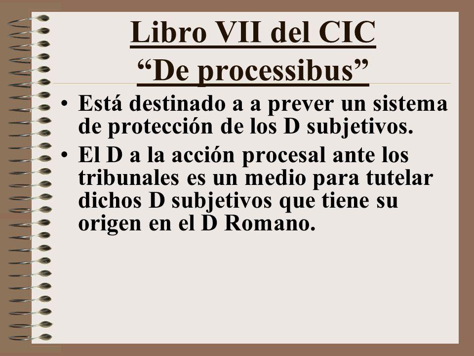 Libro VII del CIC De processibus Está destinado a a prever un sistema de protección de los D subjetivos.