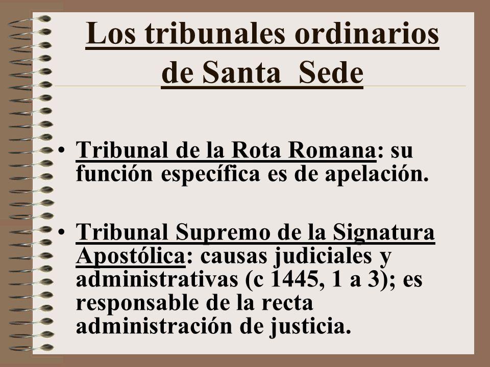 Los tribunales ordinarios de Santa Sede Tribunal de la Rota Romana: su función específica es de apelación.