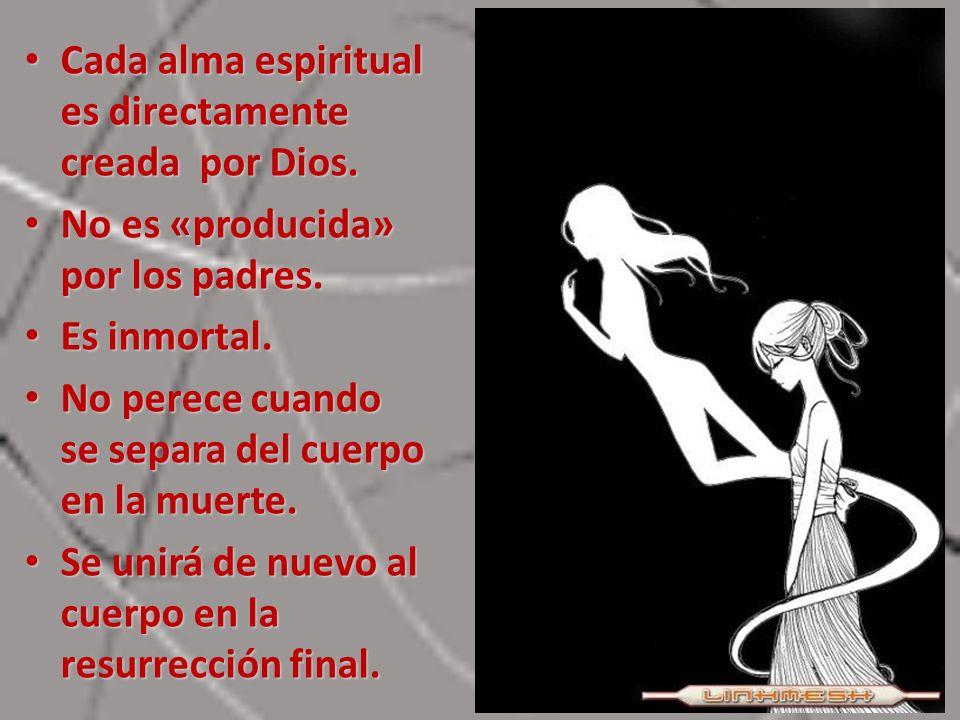 Cada alma espiritual es directamente creada por Dios. Cada alma espiritual es directamente creada por Dios. No es «producida» por los padres. No es «p