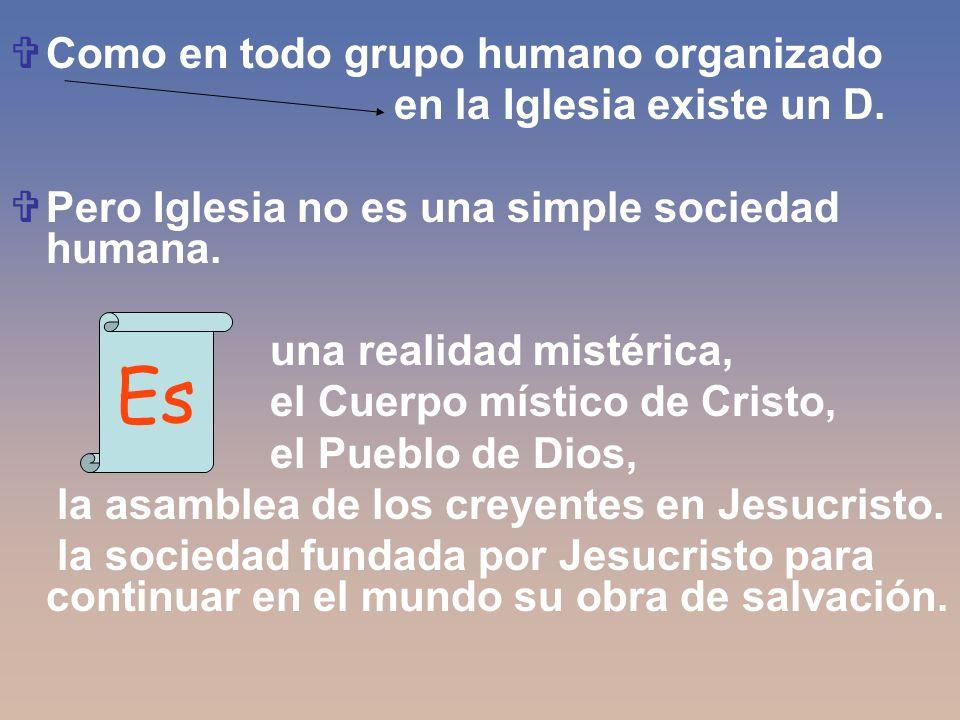 Como en todo grupo humano organizado en la Iglesia existe un D. Pero Iglesia no es una simple sociedad humana. una realidad mistérica, el Cuerpo místi