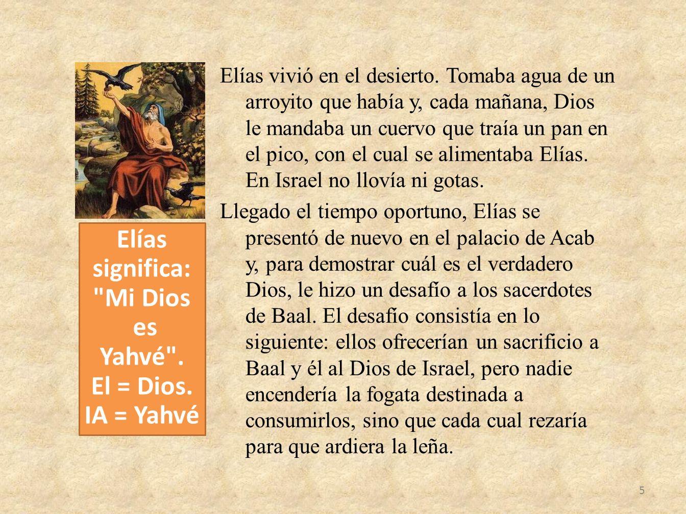 Elías vivió en el desierto. Tomaba agua de un arroyito que había y, cada mañana, Dios le mandaba un cuervo que traía un pan en el pico, con el cual se