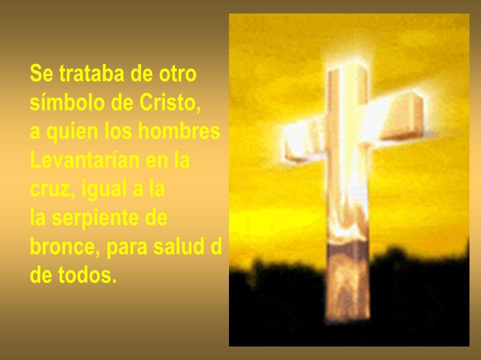Se trataba de otro símbolo de Cristo, a quien los hombres Levantarían en la cruz, igual a la la serpiente de bronce, para salud d de todos.