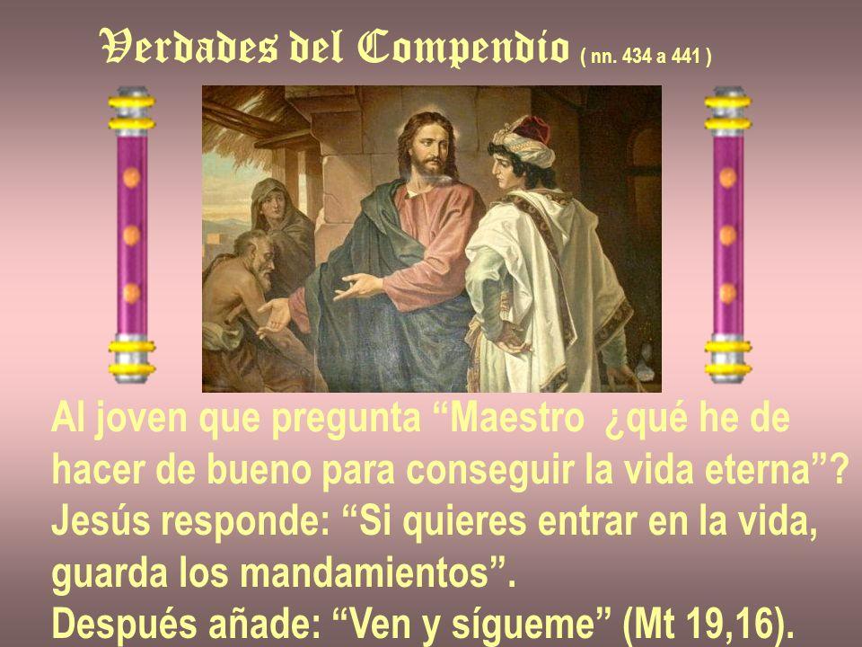 Verdades del Compendio ( nn. 434 a 441 ) Al joven que pregunta Maestro ¿qué he de hacer de bueno para conseguir la vida eterna? Jesús responde: Si qui