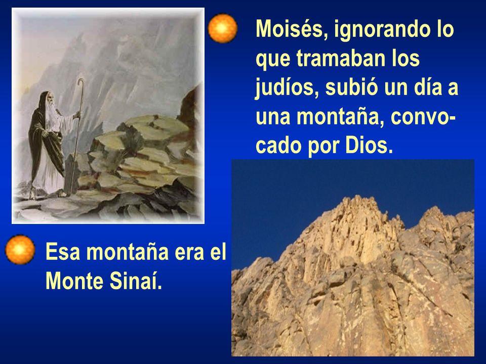 Moisés, ignorando lo que tramaban los judíos, subió un día a una montaña, convo- cado por Dios. Esa montaña era el Monte Sinaí.