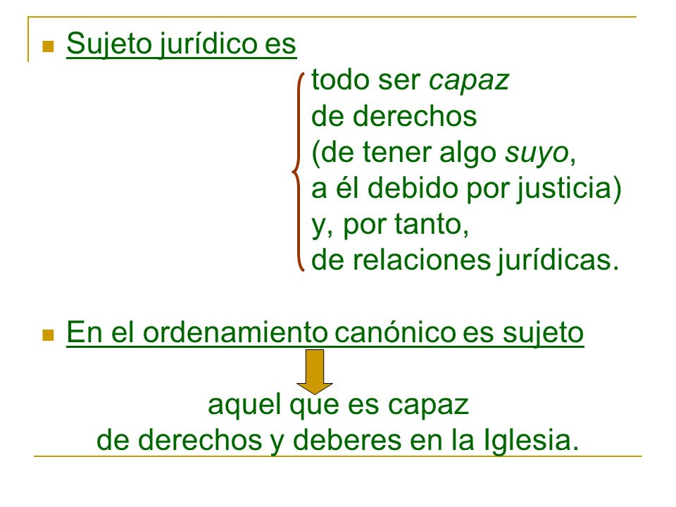 Sujeto jurídico es todo ser capaz de derechos (de tener algo suyo, a él debido por justicia) y, por tanto, de relaciones jurídicas. En el ordenamiento
