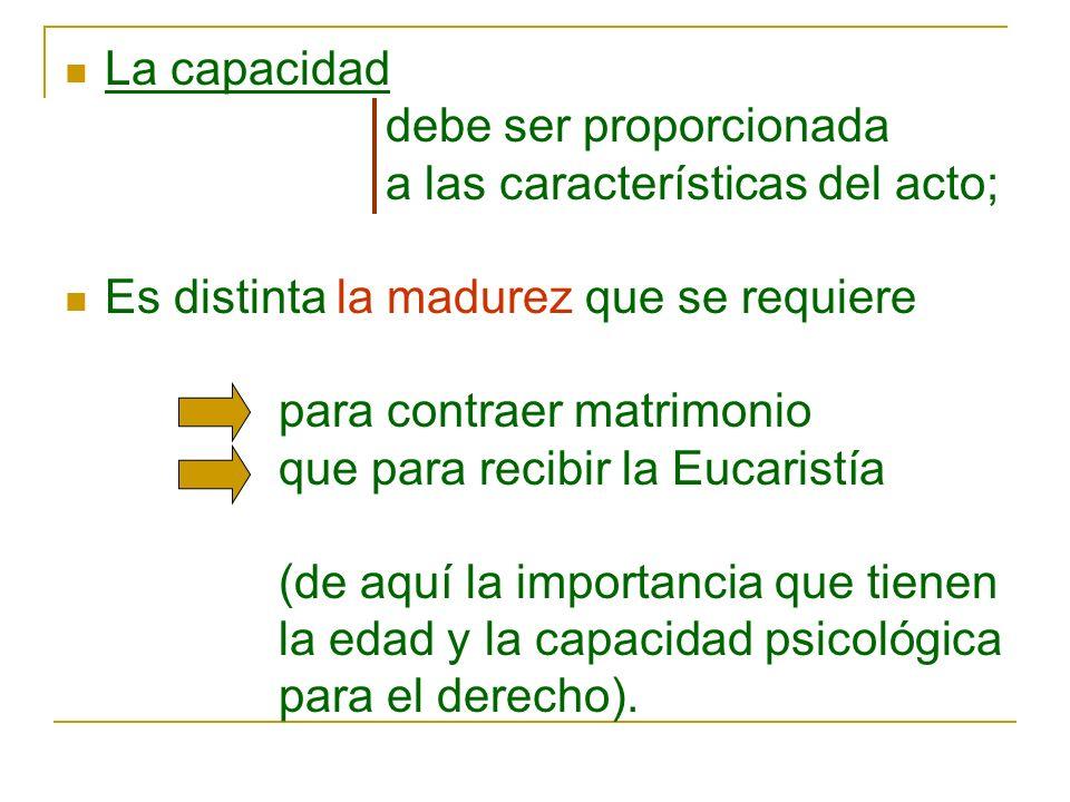 La capacidad debe ser proporcionada a las características del acto; Es distinta la madurez que se requiere para contraer matrimonio que para recibir l