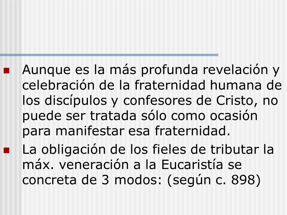Aunque es la más profunda revelación y celebración de la fraternidad humana de los discípulos y confesores de Cristo, no puede ser tratada sólo como o