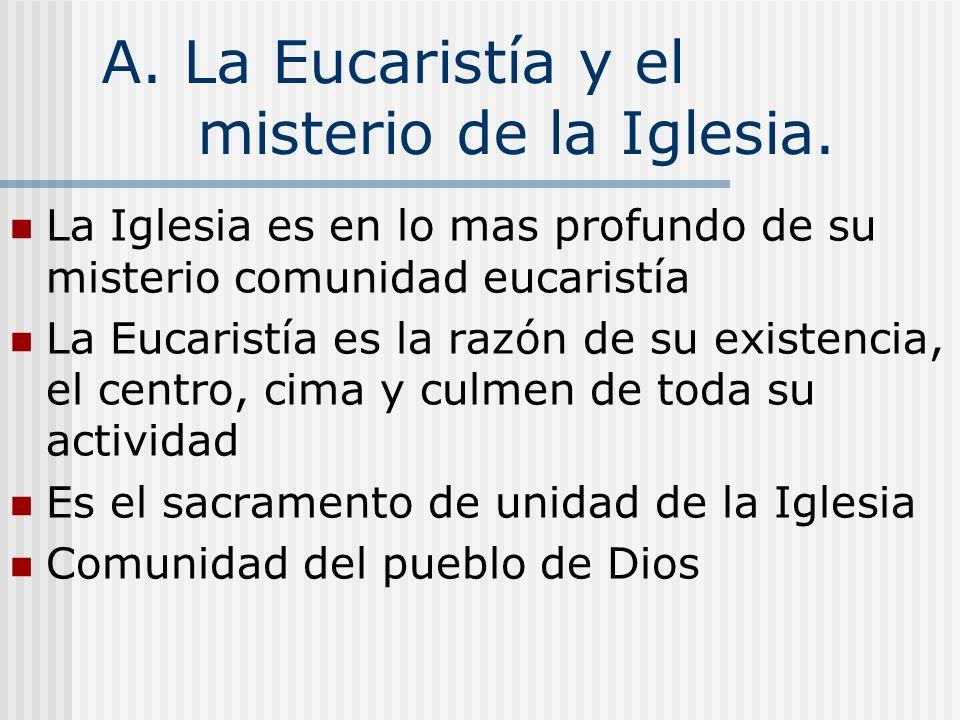 A. La Eucaristía y el misterio de la Iglesia. La Iglesia es en lo mas profundo de su misterio comunidad eucaristía La Eucaristía es la razón de su exi