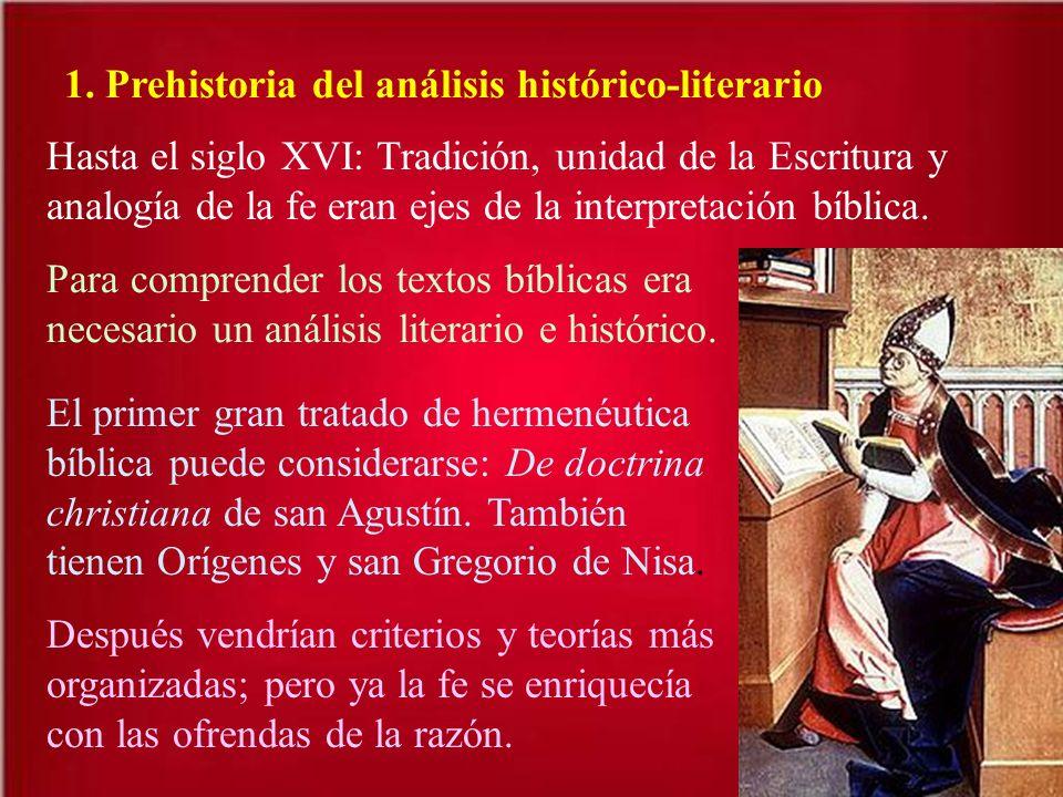 1. Prehistoria del análisis histórico-literario Hasta el siglo XVI: Tradición, unidad de la Escritura y analogía de la fe eran ejes de la interpretaci