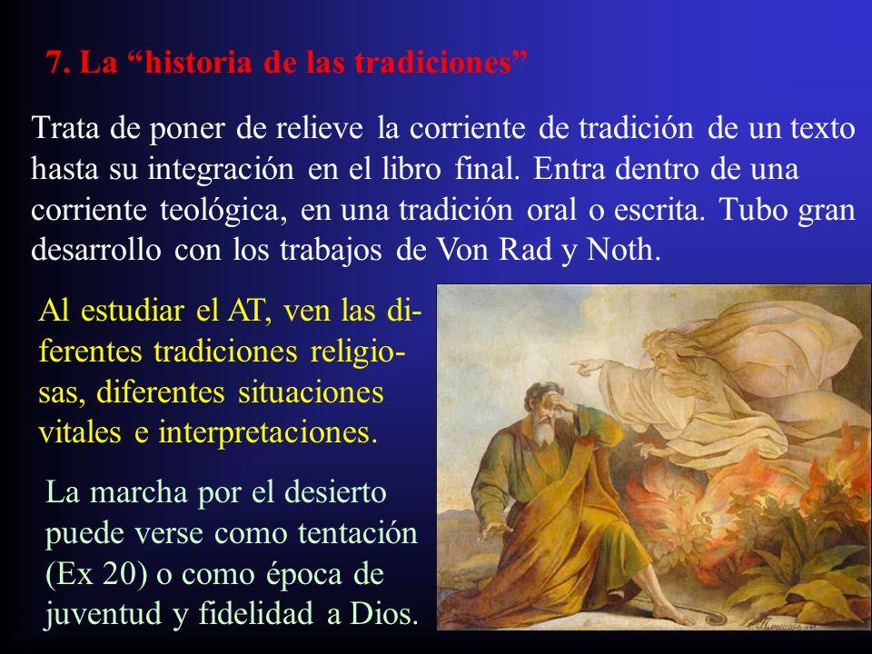 7. La historia de las tradiciones Trata de poner de relieve la corriente de tradición de un texto hasta su integración en el libro final. Entra dentro
