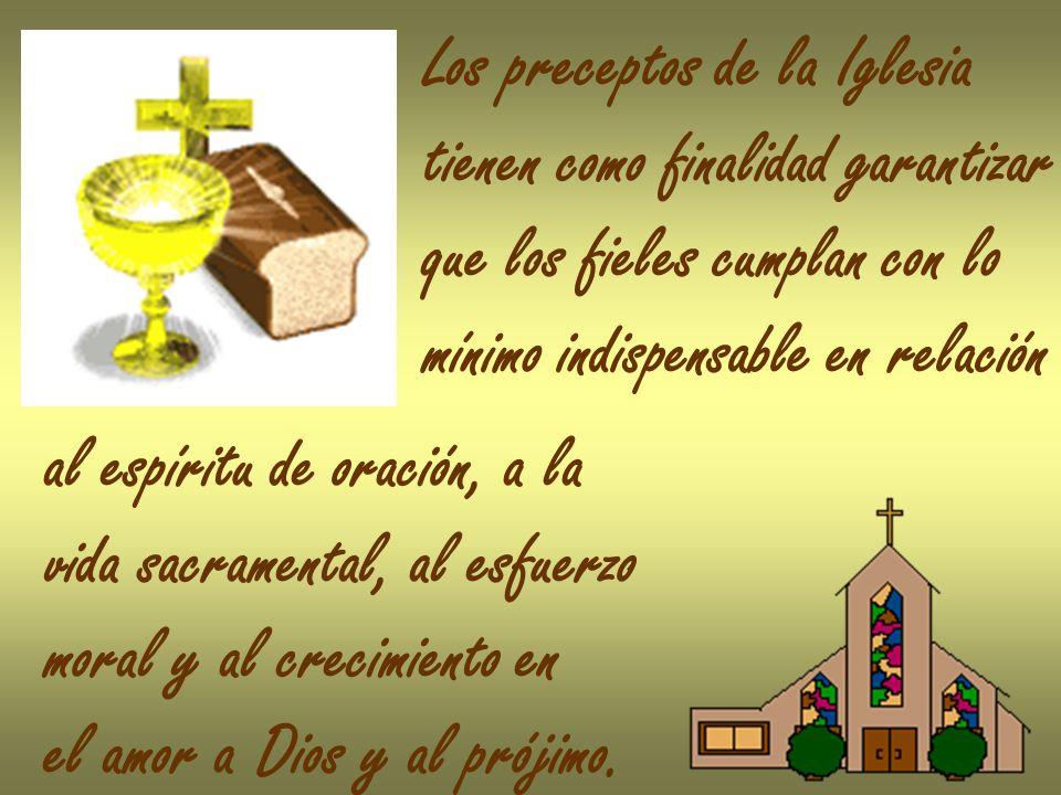 Los preceptos de la Iglesia tienen como finalidad garantizar que los fieles cumplan con lo mínimo indispensable en relación al espíritu de oración, a la vida sacramental, al esfuerzo moral y al crecimiento en el amor a Dios y al prójimo.