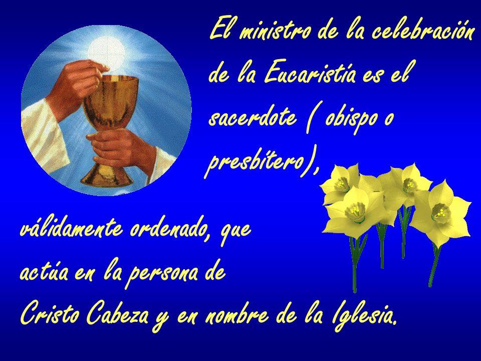 El ministro de la celebración de la Eucaristía es el sacerdote ( obispo o presbítero), válidamente ordenado, que actúa en la persona de Cristo Cabeza