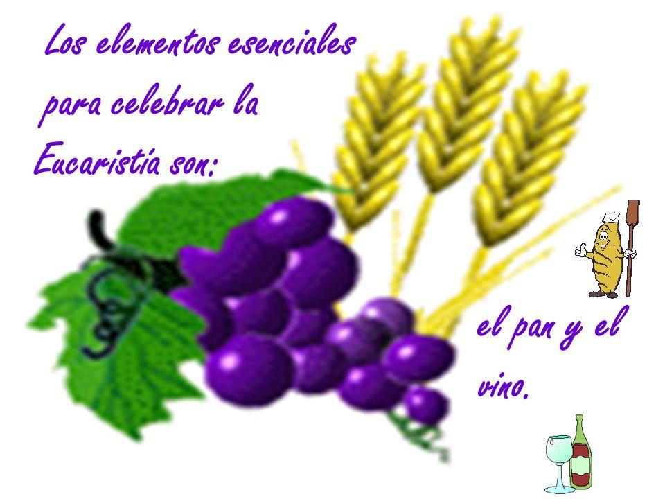 Los elementos esenciales para celebrar la Eucaristía son: el pan y el vino.