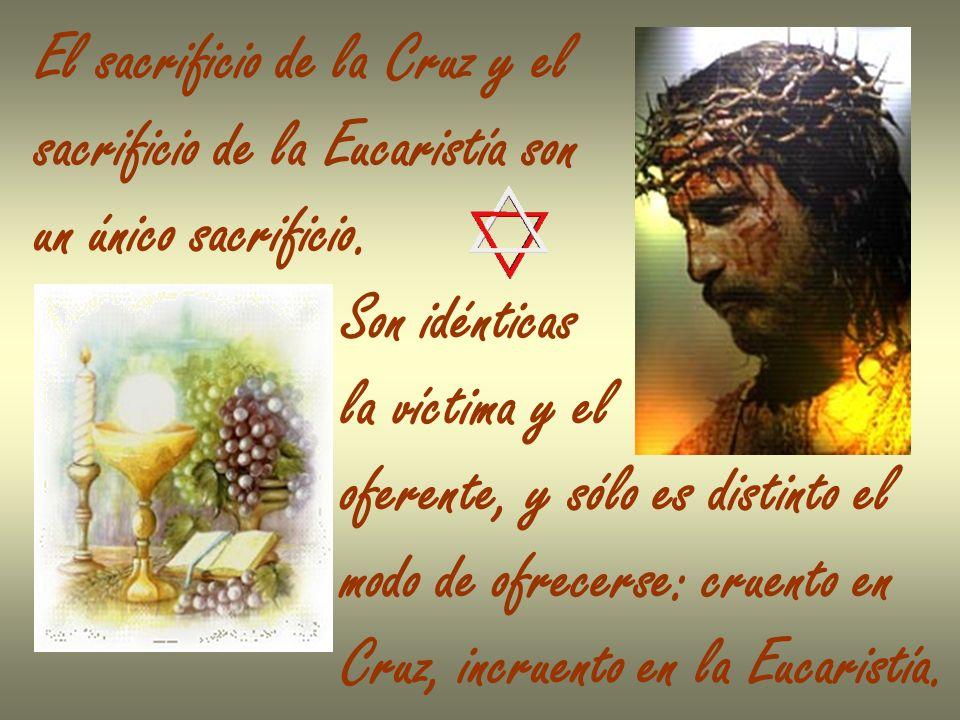 El sacrificio de la Cruz y el sacrificio de la Eucaristía son un único sacrificio. Son idénticas la víctima y el oferente, y sólo es distinto el modo
