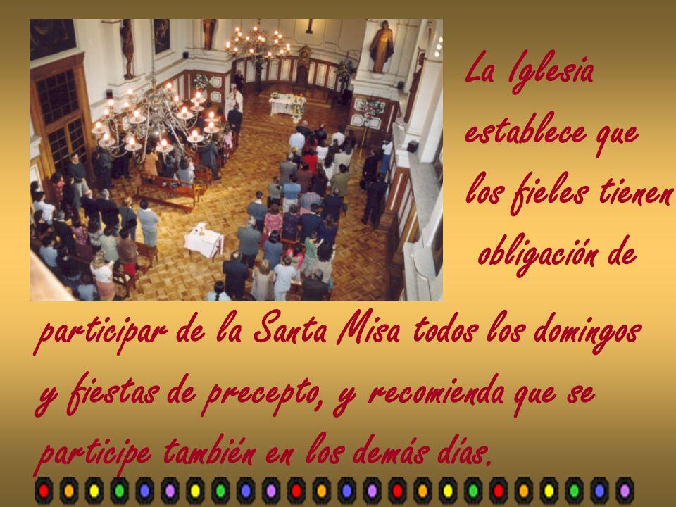 La Iglesia establece que los fieles tienen obligación de participar de la Santa Misa todos los domingos y fiestas de precepto, y recomienda que se par