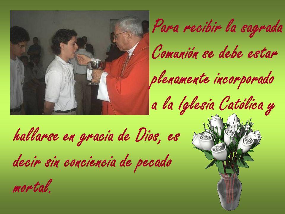 Para recibir la sagrada Comunión se debe estar plenamente incorporado a la Iglesia Católica y hallarse en gracia de Dios, es decir sin conciencia de p