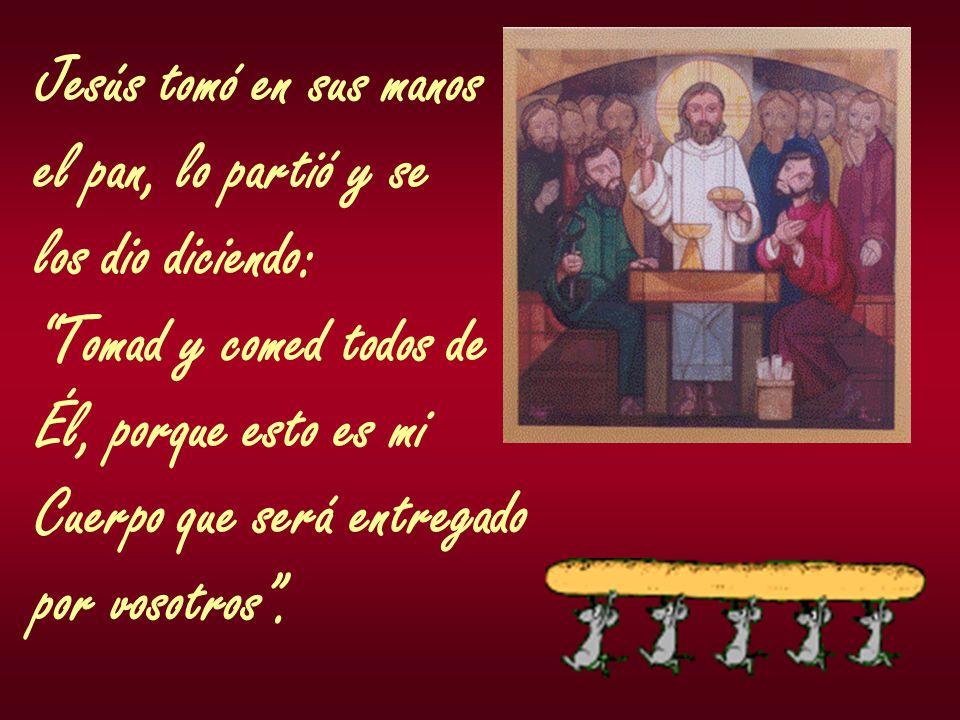 Jesús tomó en sus manos el pan, lo partió y se los dio diciendo: Tomad y comed todos de Él, porque esto es mi Cuerpo que será entregado por vosotros.