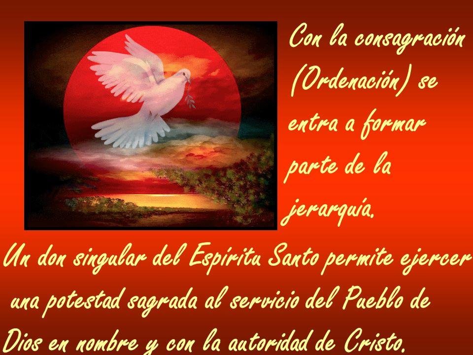 Con la consagración (Ordenación) se entra a formar parte de la jerarquía. Un don singular del Espíritu Santo permite ejercer una potestad sagrada al s