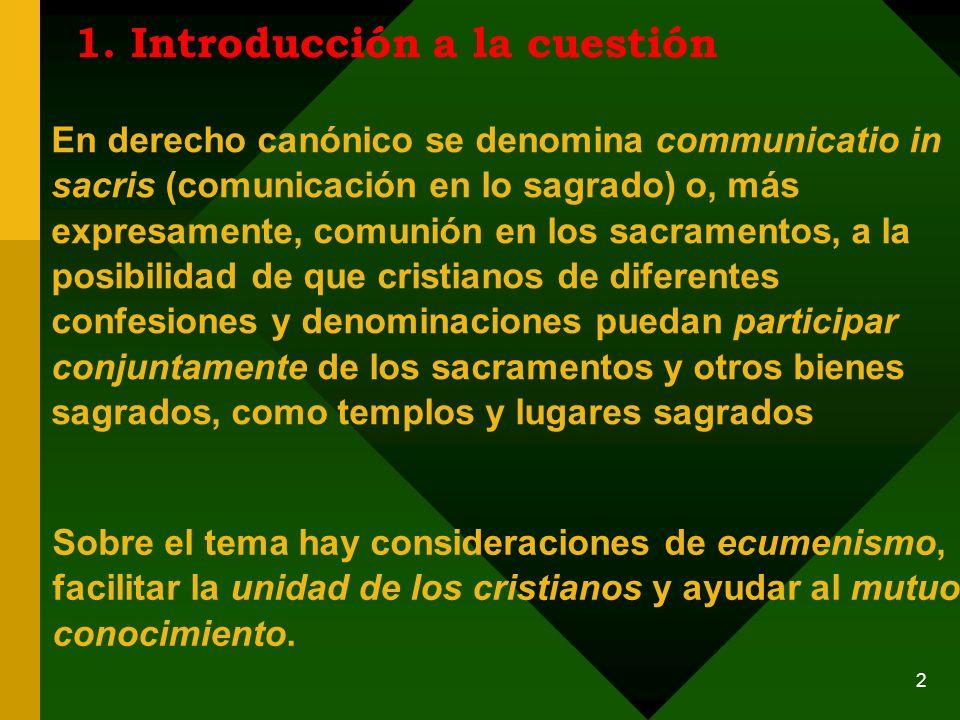 La communicatio in sacris en el Código de Derecho Canónico P.