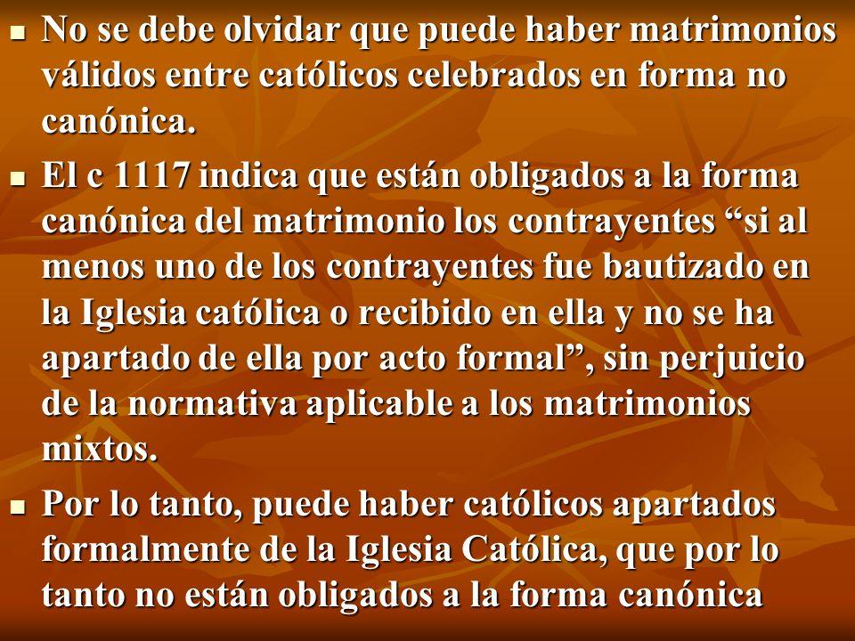 No se debe olvidar que puede haber matrimonios válidos entre católicos celebrados en forma no canónica. No se debe olvidar que puede haber matrimonios