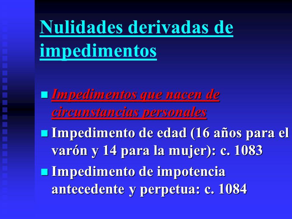Impedimentos que nacen de causas jurídicas Impedimentos que nacen de causas jurídicas Impedimento de vínculo o ligamen: c.