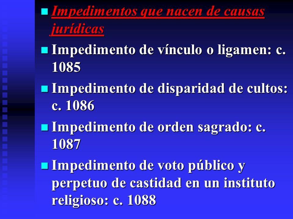Impedimentos que nacen de causas jurídicas Impedimentos que nacen de causas jurídicas Impedimento de vínculo o ligamen: c. 1085 Impedimento de vínculo