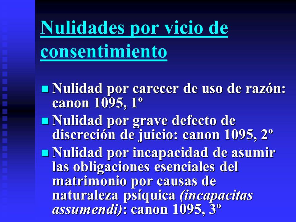 Nulidades por vicio de consentimiento Nulidad por carecer de uso de razón: canon 1095, 1º Nulidad por carecer de uso de razón: canon 1095, 1º Nulidad