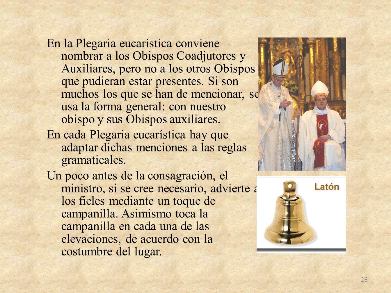 En la Plegaria eucarística conviene nombrar a los Obispos Coadjutores y Auxiliares, pero no a los otros Obispos que pudieran estar presentes. Si son m