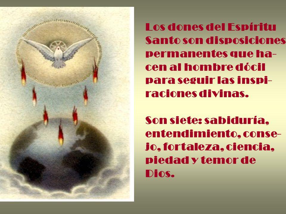 Los dones del Espíritu Santo son disposiciones permanentes que ha- cen al hombre dócil para seguir las inspi- raciones divinas. Son siete: sabiduría,