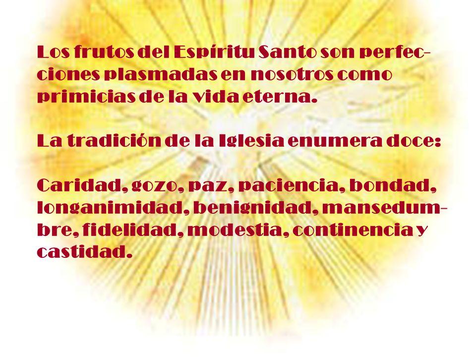 Los frutos del Espíritu Santo son perfec- ciones plasmadas en nosotros como primicias de la vida eterna. La tradición de la Iglesia enumera doce: Cari