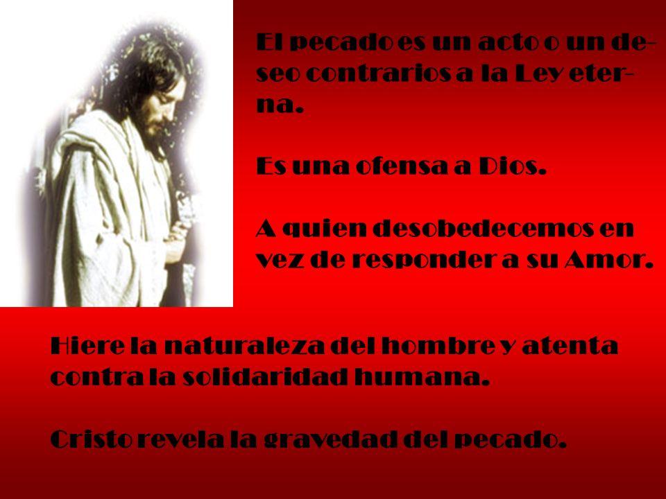 El pecado es un acto o un de- seo contrarios a la Ley eter- na. Es una ofensa a Dios. A quien desobedecemos en vez de responder a su Amor. Hiere la na