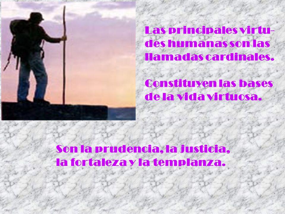 Las principales virtu- des humanas son las llamadas cardinales. Constituyen las bases de la vida virtuosa. Son la prudencia, la justicia, la fortaleza