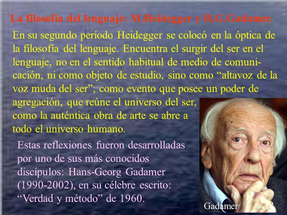 La filosofía del lenguaje: M.Heidegger y H.G.Gadamer. En su segundo período Heidegger se colocó en la óptica de la filosofía del lenguaje. Encuentra e