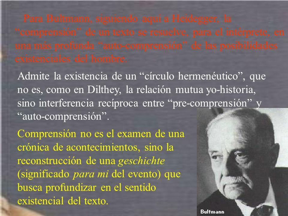 Para Bultmann, siguiendo aquí a Heidegger, la comprensión de un texto se resuelve, para el intérprete, en una más profunda auto-comprensión de las pos