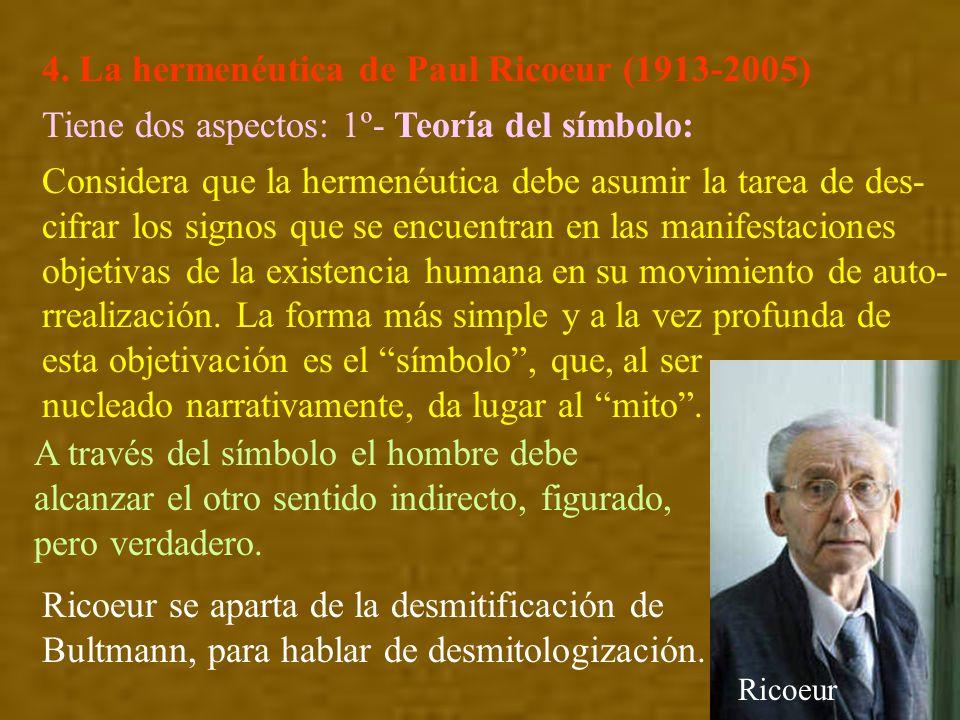4. La hermenéutica de Paul Ricoeur (1913-2005) Tiene dos aspectos: 1º- Teoría del símbolo: Considera que la hermenéutica debe asumir la tarea de des-