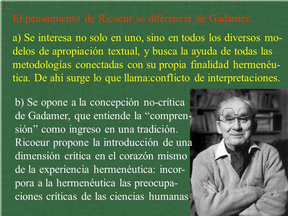 El pensamiento de Ricoeur se diferencia de Gadamer: a) Se interesa no solo en uno, sino en todos los diversos mo- delos de apropiación textual, y busc