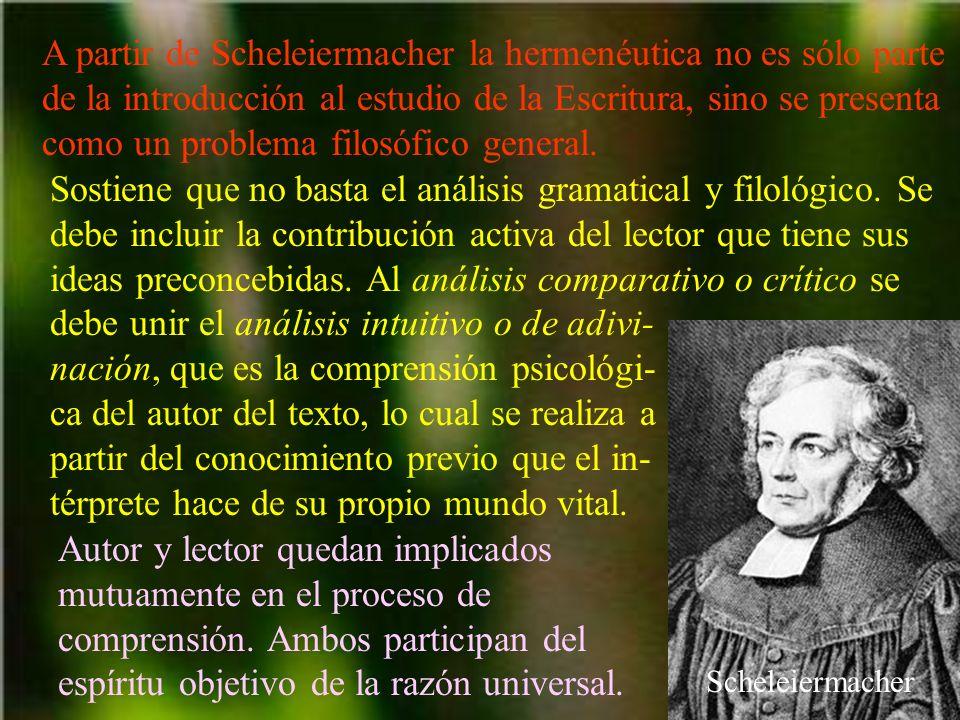 A partir de Scheleiermacher la hermenéutica no es sólo parte de la introducción al estudio de la Escritura, sino se presenta como un problema filosófi