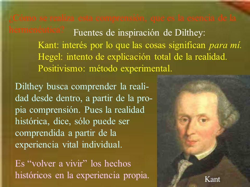 ¿Cómo se realiza esta comprensión, que es la esencia de la hermenéutica? Fuentes de inspiración de Dilthey: Kant: interés por lo que las cosas signifi