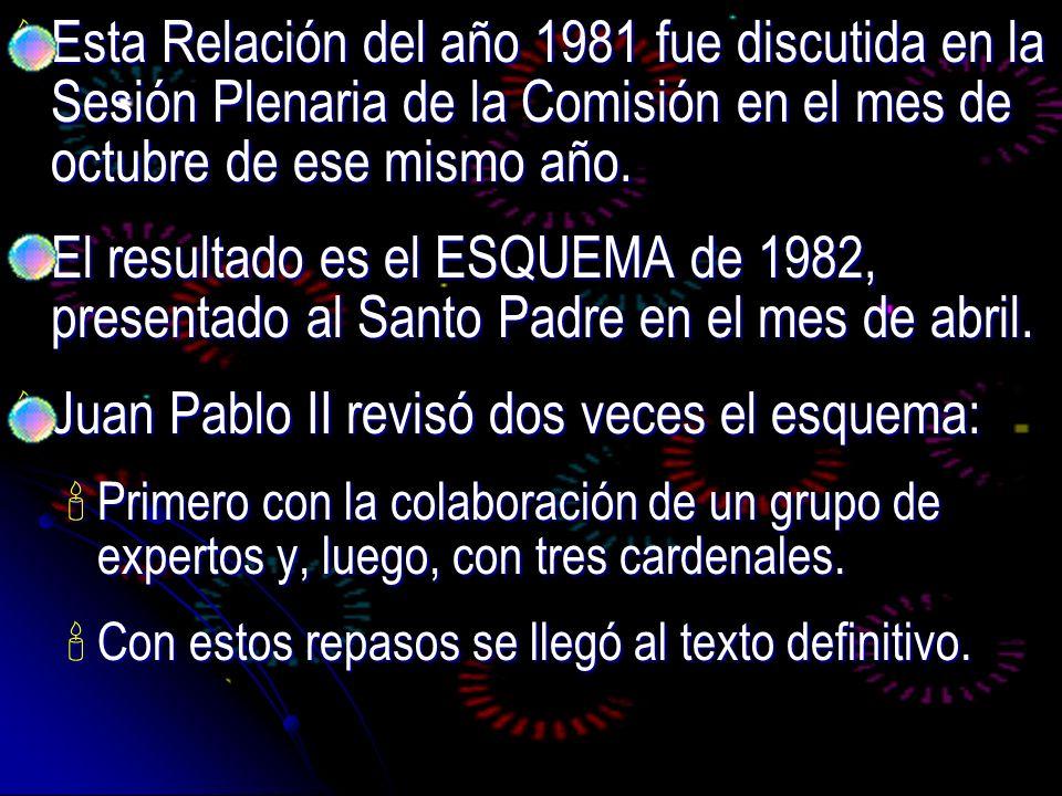 Esta Relación del año 1981 fue discutida en la Sesión Plenaria de la Comisión en el mes de octubre de ese mismo año. Esta Relación del año 1981 fue di