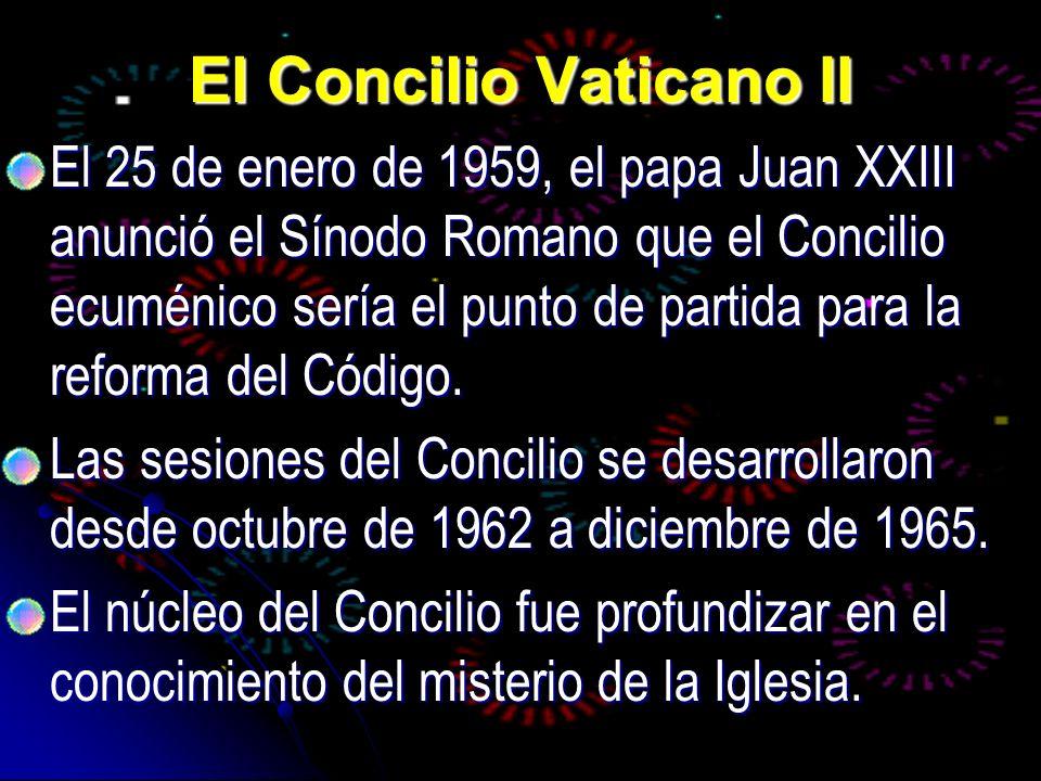 El Concilio Vaticano II El 25 de enero de 1959, el papa Juan XXIII anunció el Sínodo Romano que el Concilio ecuménico sería el punto de partida para l