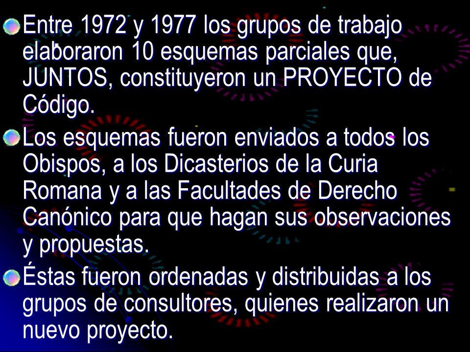 Entre 1972 y 1977 los grupos de trabajo elaboraron 10 esquemas parciales que, JUNTOS, constituyeron un PROYECTO de Código. Entre 1972 y 1977 los grupo