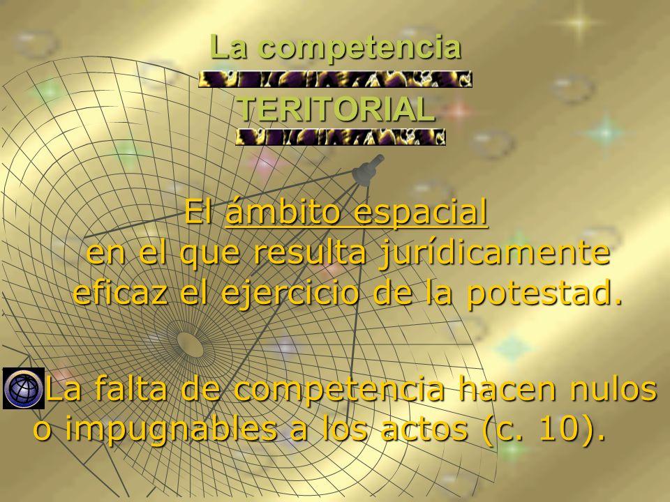 La competencia TERITORIAL El ámbito espacial en el que resulta jurídicamente eficaz el ejercicio de la potestad. La falta de competencia hacen nulos o